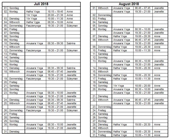 Sommeryoga-Stundenplan 2018